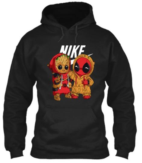 baby groot and deadpool hoodie nike,  baby groot and deadpool hoodie,