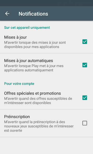 Google Play Store ajoute 2 nouvelles options de notifications