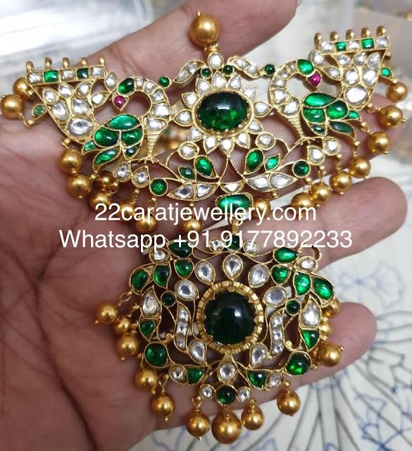 925 Silver Green Kundan Choker with Balls
