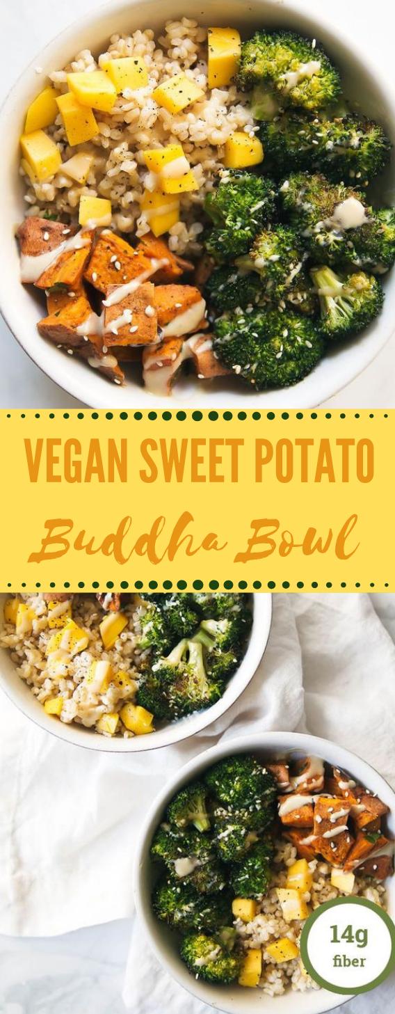 Vegan Sweet Potato Buddha Bowl with Orange Sesame Almond Butter Dressing #vegan #vegetarian #almond #food #lunch