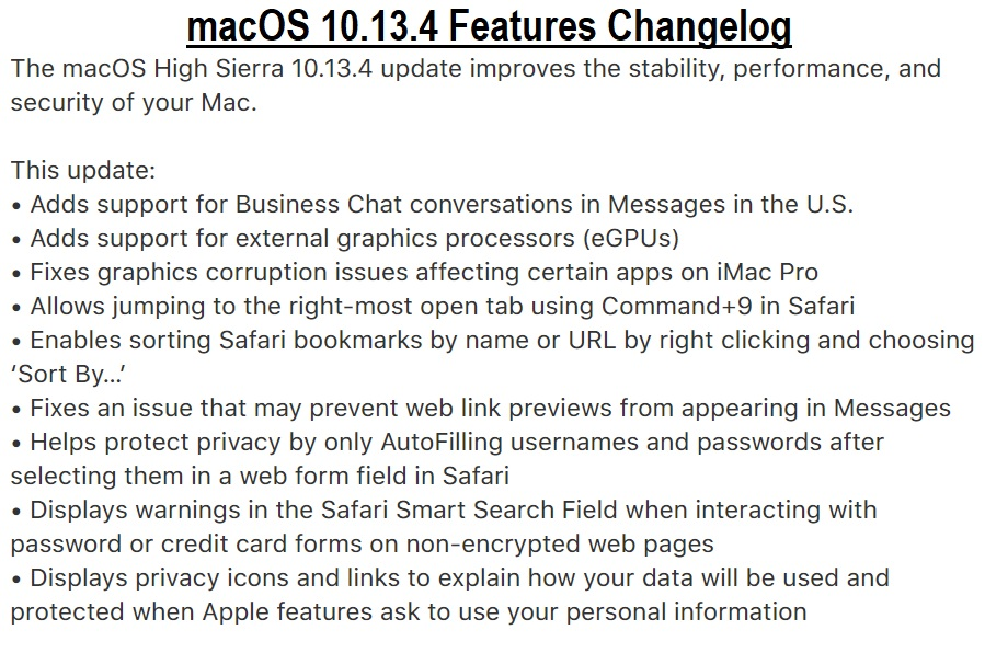 macOS 10.13.4 Final Features Changelog