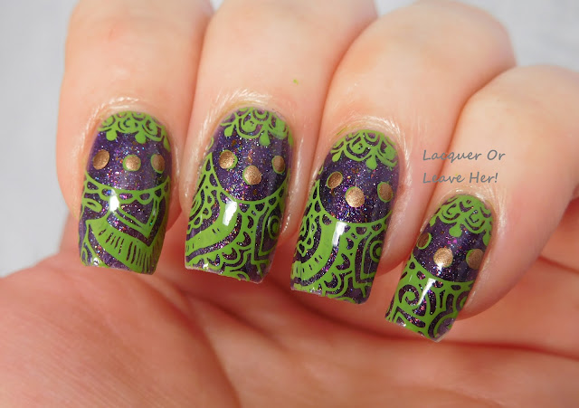 Winstonia Love of Henna plate stamped over The Lady Varnishes Broken Carousel