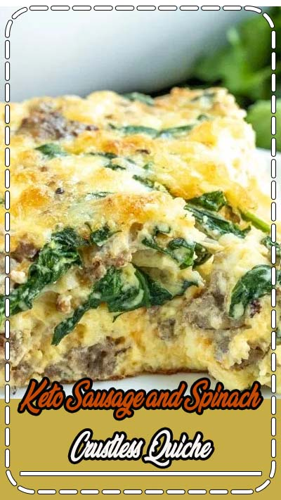 This Keto Sausage and Spinach Crustless Quiche is an easy low carb breakfast or brunch recipe loaded with eggs, sausage, cheese, and spinach. It's a make ahead keto breakfast casserole that you can eat for breakfast, lunch, or dinner. It makes a great addition to the Easter brunch, Mother's Day brunch, or just a Sunday family breakfast. #breakfast #brunch #eggs #casserole #quiche #lowcarb #keto #lowcarbdiet #ketorecipes #homemadeinterest