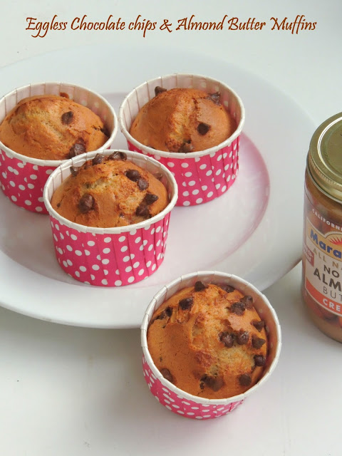 Eggless Butterless Chocolate chips & Almond Butter Muffins