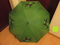 """außen: VON LILIENFELD grüner Regenschirm mit Tiermotiv """"Schattenfrosch"""""""
