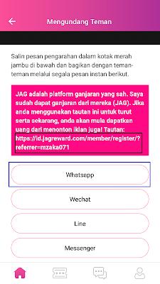 cara mengundang teman dari aplikasi JAG Android