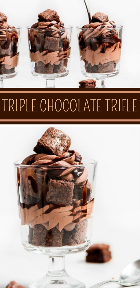 MINI TRIPLE CHOCOLATE TRIFLES #dessert #chocolate #recipes #party #buttercream