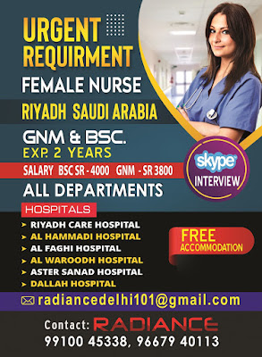 Urgently Required Staff Nurses for Various Hospitals in Riyadh, Saudi Arabia