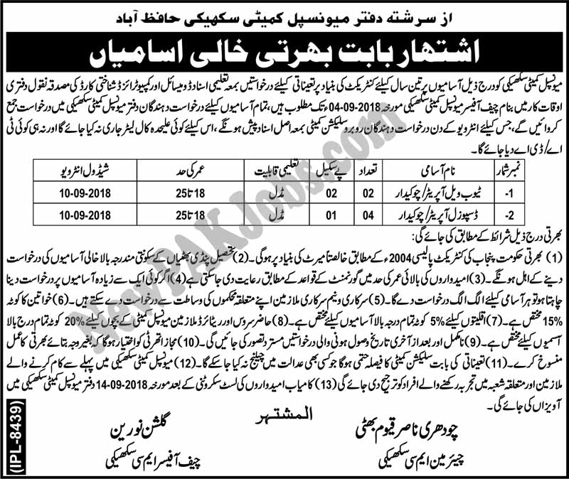 Today Govt Jobs in Municipal Committee Hafizabad