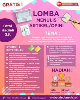 [Gratis] Lomba Menulis Opini/artikel Oleh Kataindonesia.com