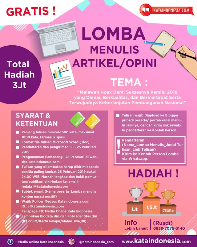 [Gratis] Lomba Menulis Opini/artikel 2019 Oleh Kataindonesia.com