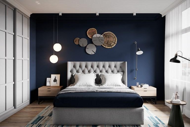 Dormitorio con tonos azules