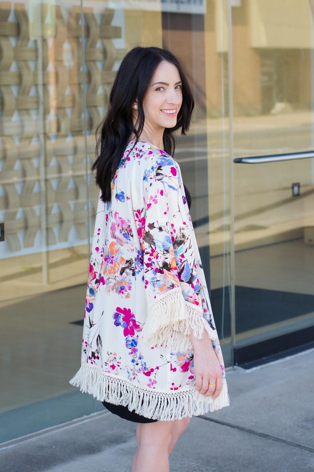 Bright colored floral kimono for summer style