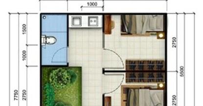 50+ gambar desain rumah kontrakan 2 kamar tidur