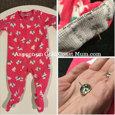 Gold Coast Mum.com child safety, sharp item in baby onesie, warning to mums, check baby clothing