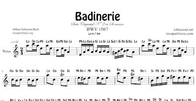 Badinarie de J. Sebastian Bach Partitura para flauta, violin, saxo alto, tenor, soprano, trompa, clarinete, corno inglés, trompeta, oboe.... Música Clásica.