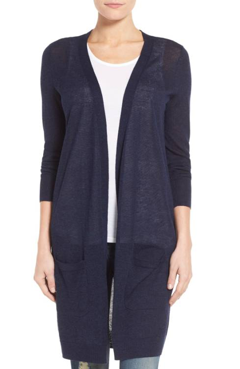 Halogen Long Linen Cardigan