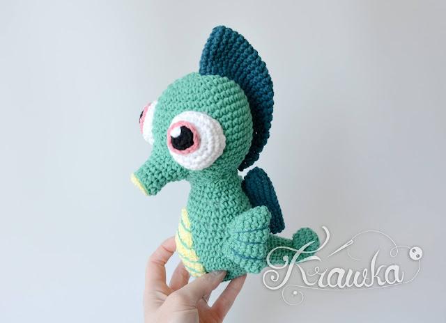 Krawka: Seahorse amigurumi crochet pattern green blue sea creature, fish crochet pattern by Krawka