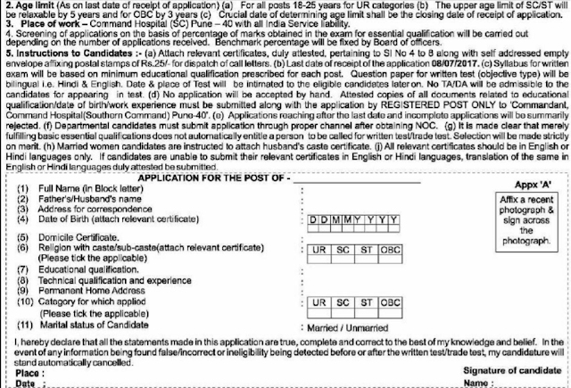 Command Hospital Pune Recruitment 2017 Application Form