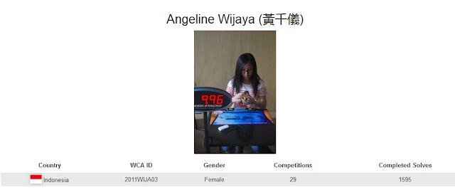 Profile akun WCA dari Angeline Wijaya yang merupakan peringkat ketiga nasiona rubik square-1 kategori single