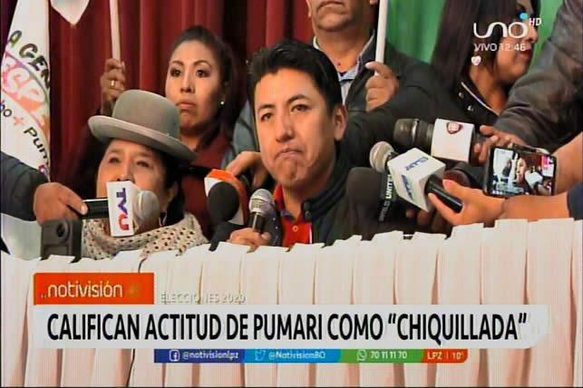 Masistas califican de chiquillada la actitud del candidato Marco Pumari