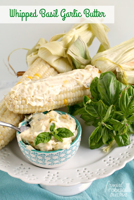 Fresh basil & sauteed garlic give this creamy butter a rich flavor that is perfect for spreading on sweet summer corn or your favorite crusty bread.