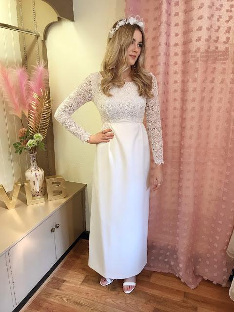 1960's long sleeve wedding dress