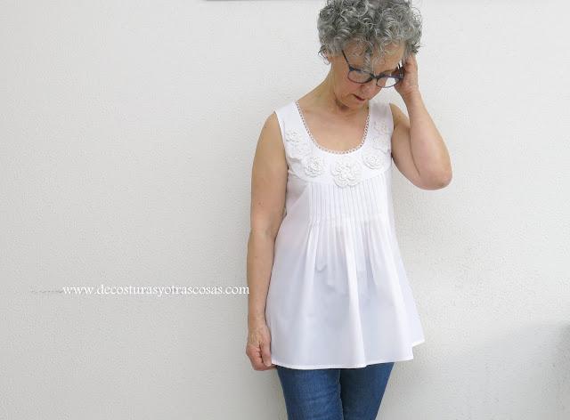 proceso de confección paso a paso blusa blanca sin mangas