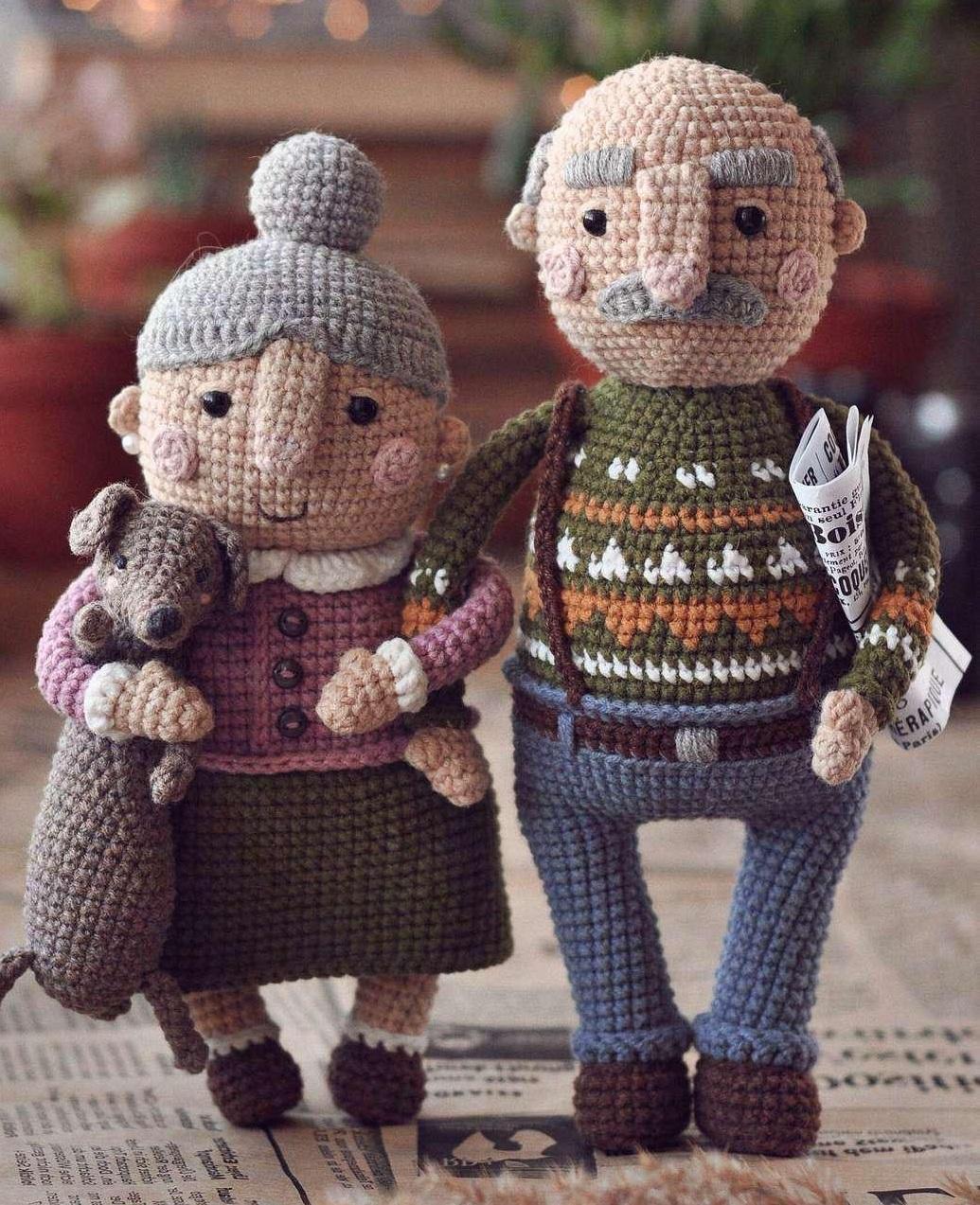 Описание вязания крючком кукольной пожилой семейной пары (11)