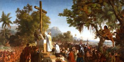 imagem da Primeira Missa celebrada no Brasil