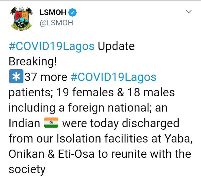 Lagos Discharges 37 Coronavirus Patients Today
