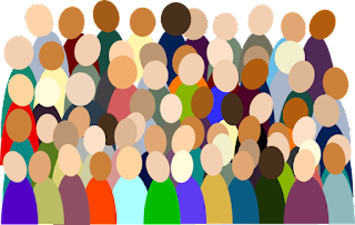 A drawing representing a group of diverse people.