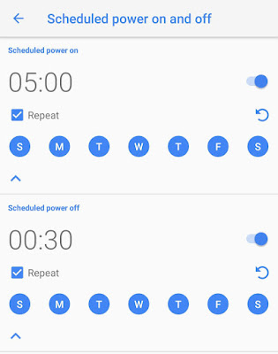 Schedule power on off Android feature
