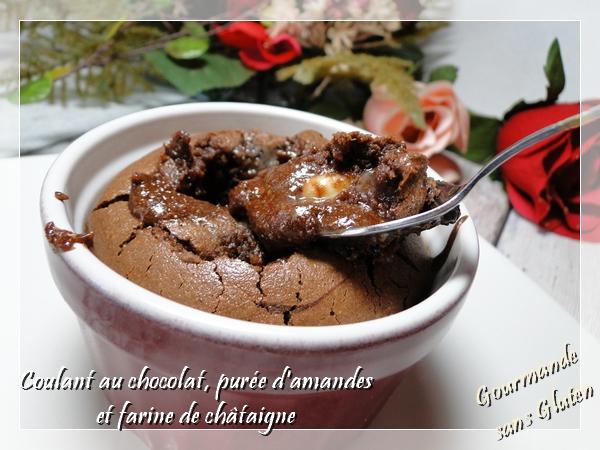 Coulant au chocolat, purée d'amandes et à la farine de chätaigne, sans gluten