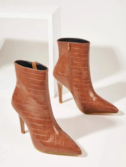 Brown Croc Embossed Ankle Boots