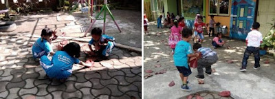 Pembiasaan anak paud, TK/RA, SD/MI mengambil sampah yang berserakan