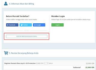 Registrasi akun Rumahweb.com dengan email
