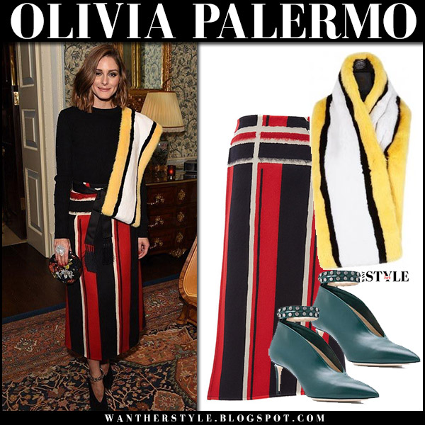 Olivia Palermo in red striped midi skirt amanda wakeley with yellow striped fur scarf lilly e violetta arabella holiday party style december 12
