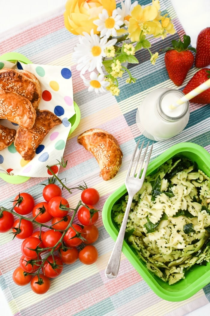 a picnic spread including puff pastry parcels