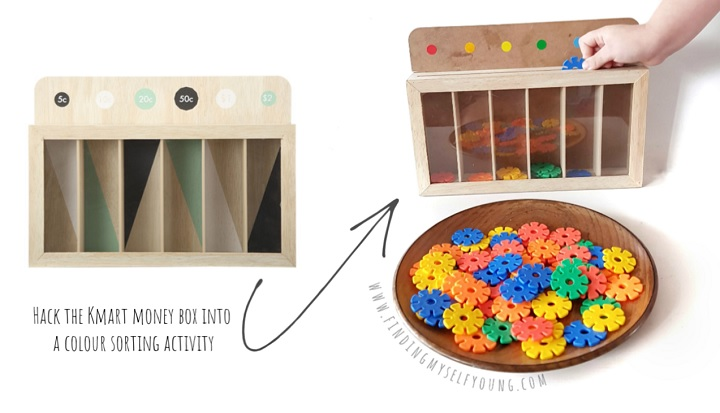 kmart money box colour sorting hack