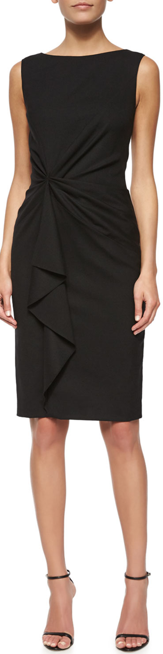Carolina Herrera Faux-Wrap Ruffled Sheath Dress Black