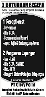 Loker PT. Glory Point Batam