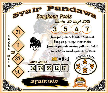 Syair Pandawa HK Senin 20-09-2021