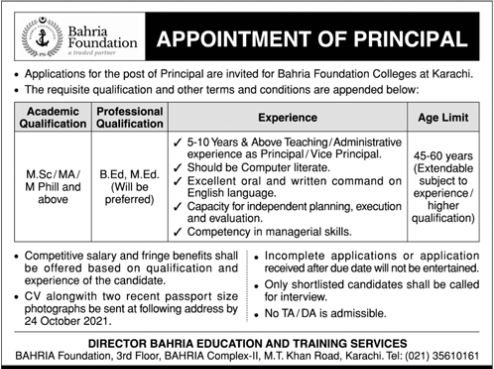 JOBS | Bahria Foundation - Appointment of Principal