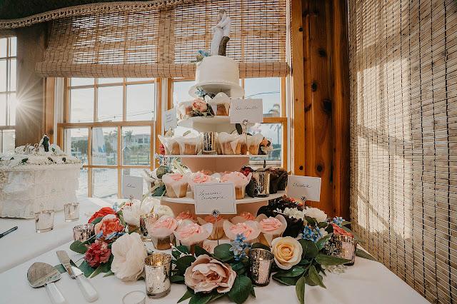 Detail shot of Wedding cake and cupcakes
