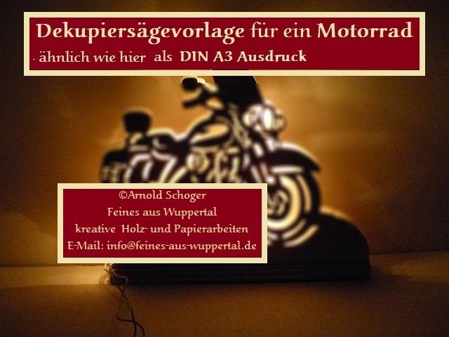 Motorrad Dekupiersäge Vorlage, auch als Laubsägevorlage geeignet ...