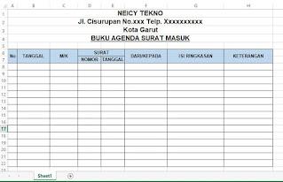 Format Agenda Surat Masuk dan Keluar di Excel