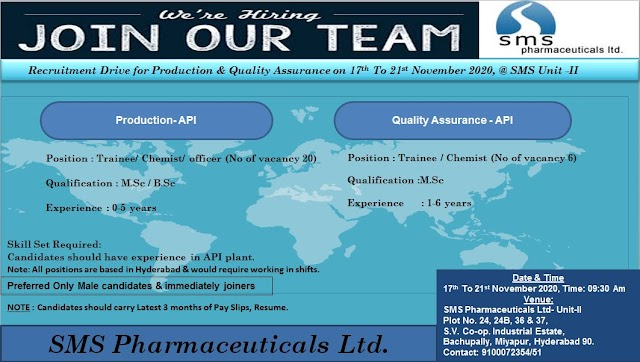 SMS Pharmaceuticals | Walk-in for Production/QA from 17 to 21st Nov 2020