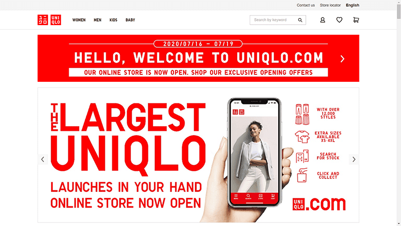 UNIQLO's online store in the Philippines