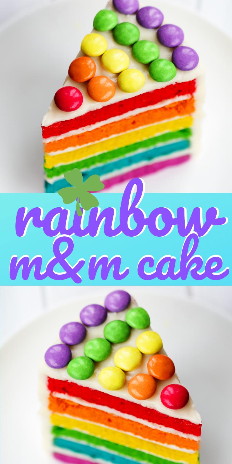 Rainbow M&M Cake